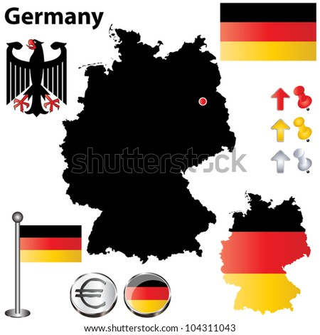 Vector set of Germany country shape with flags and icons isolated on white background - stock vector