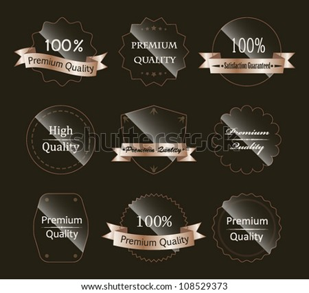 Vector set of glass labels. - stock vector