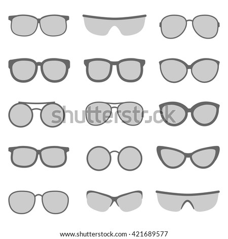 Vector set of glasses and sunglasses on white background - stock vector