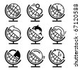 Vector set of globe - stock vector