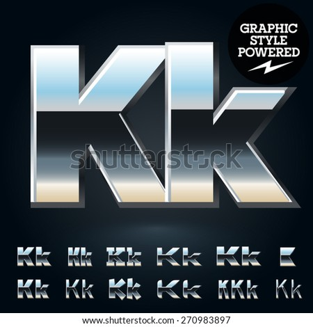 Vector set of glossy and shiny metal steel font. Letter K - stock vector