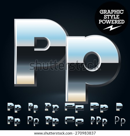 Vector set of glossy and shiny metal steel font. Letter P - stock vector