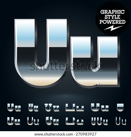 Vector set of glossy and shiny metal steel font. Letter U - stock vector