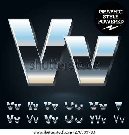 Vector set of glossy and shiny metal steel font. Letter V - stock vector