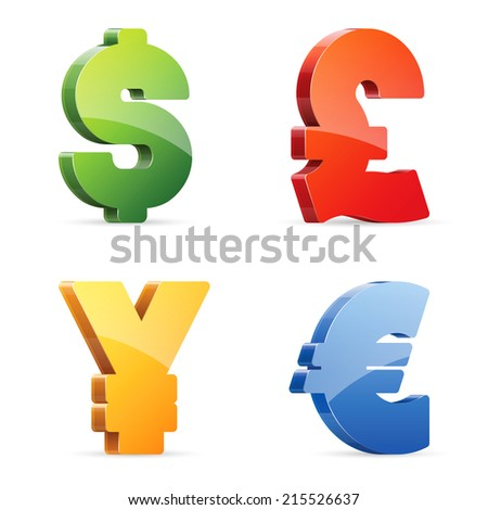 Vector set of glossy colorful currency symbols - stock vector