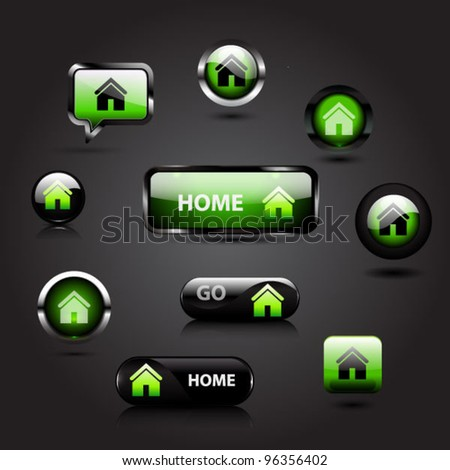 Vector set of glossy green home buttons - stock vector