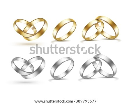 Vector Set of Gold and Silver Wedding Rings Isolated on White Background - stock vector
