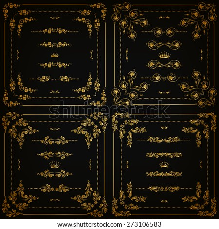 Vector set of gold decorative horizontal floral elements, corners, borders, frame, dividers, crown on black background. Page, web site decoration. Vector illustration EPS 10. - stock vector