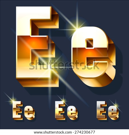Vector set of gold shiny 3D alphabet. Letter E - stock vector