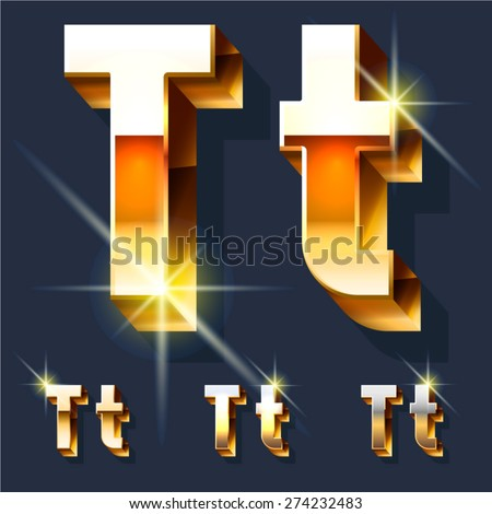 Vector set of gold shiny 3D alphabet. Letter T - stock vector