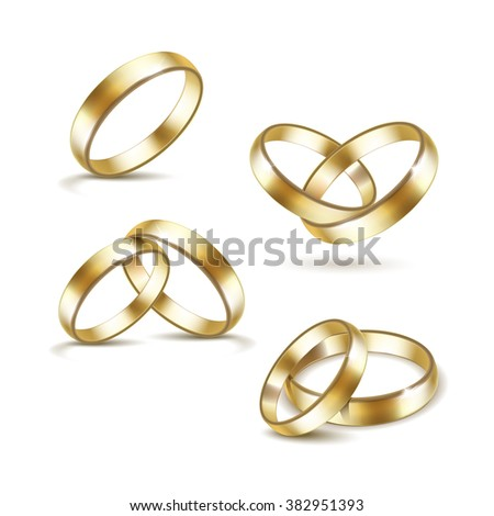 Vector Set of Gold Wedding Rings Isolated on White Background - stock vector