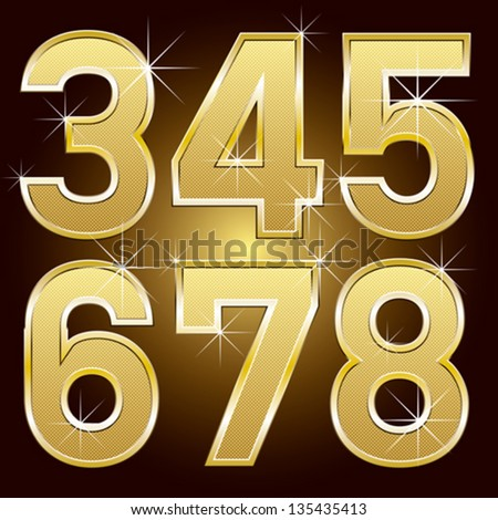 Vector set of golden letters and numbers big and small - stock vector