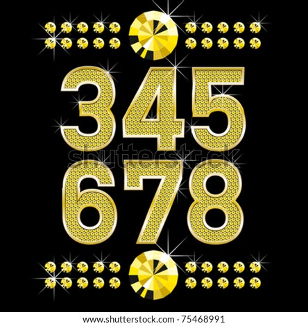 vector set of golden metal diamond letters and numbers big and small - stock vector