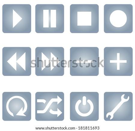 Vector Set of Gradient Audio Player Buttons - stock vector
