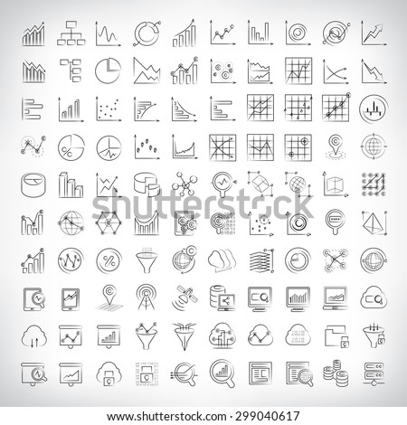 vector set of graph and chart icons, data analysis icons, sketch line theme - stock vector