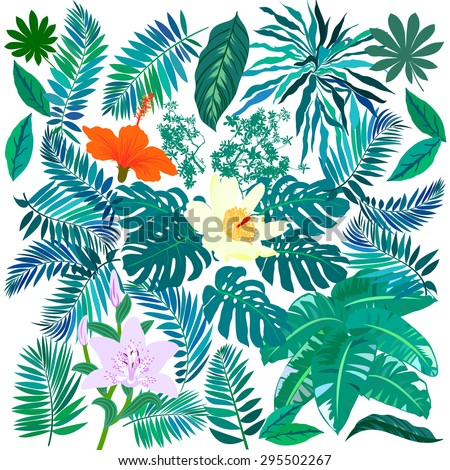 Vector set of graphic elements with leafs inspired by tropical nature, plants like palm trees, ferns in multiple green colors, hibiscus flowers and pink orchids - stock vector
