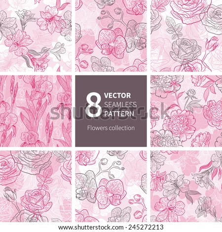Vector set of graphic flower background. Seamless floral pattern for your design wallpapers, pattern fills, web page backgrounds, surface textures. - stock vector