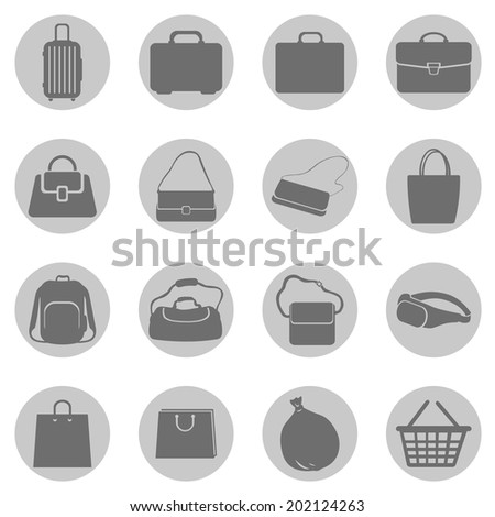 Vector Set of Gray Circle Bags Icons - stock vector