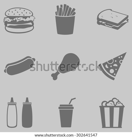 Vector Set of Gray Fast Food Icons.  Fast Food. Junk Food. Hamburger, French Fries, Sandwich, Hot Dog, Chicken, Sauces, Beverage,  Popcorn. - stock vector
