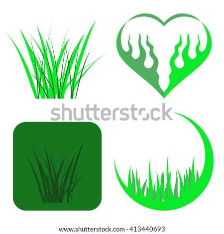 Vector Set of Green Grass Icons Isolated on White Background - stock vector