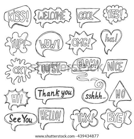 Vector set of greeting comic speech, quote bubbles, comment templates, dialogue hand drawn words made in sketch style. - stock vector