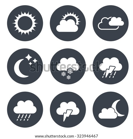 Vector set of grey circular buttons with weather symbols  - stock vector