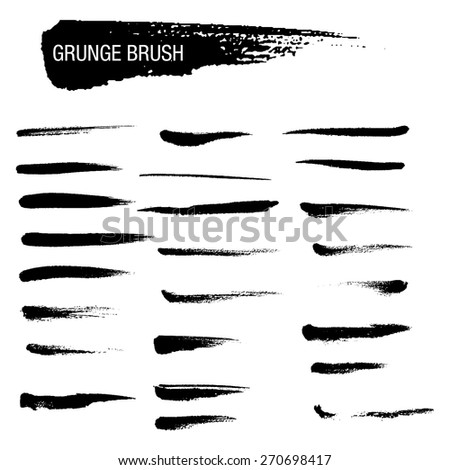 Vector set of grunge brush strokes 7 - stock vector