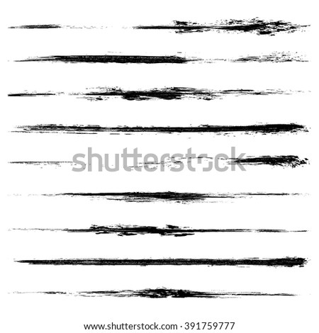 Vector set of grunge brush strokes. Black ink brush strokes. Black paint spots. Element for your design. - stock vector
