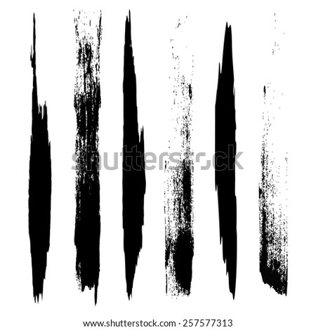 Vector set of grunge brush strokes. Black vector brush strokes collection. Black paint spots vector set  - stock vector