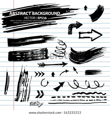 Vector set of grunge brush strokes. Exercise book paper in the lineup. Vector EPS 10 illustration. - stock vector