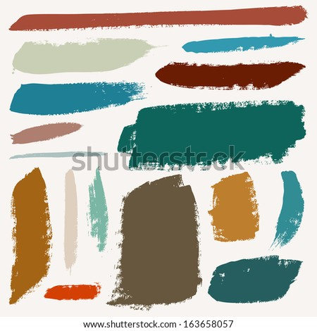 Vector set of grunge colorful brush strokes - stock vector