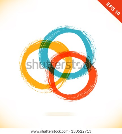 Vector set of grunge drawing circles. Artistic elements. Beauty element for gifts, cards, invitations - stock vector