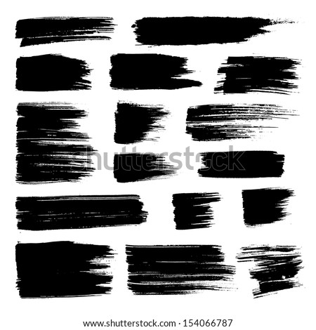 Vector set of grunge watercolor broad brush strokes.  Black collection of black vector oil paint brush strokes  isolated on white background. Paint brush strokes. - stock vector