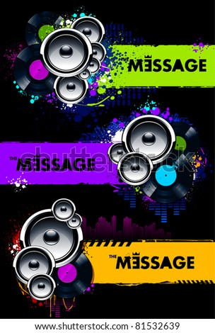 Vector set of grungy musical banners with speakers and vinyl discs. - stock vector
