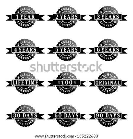 Vector set of 100% guarantee labels - stock vector