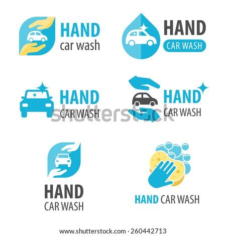 Vector set of hand car wash logotypes. Eps 10. - stock vector
