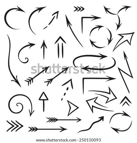 Vector set of hand draw arrows - stock vector