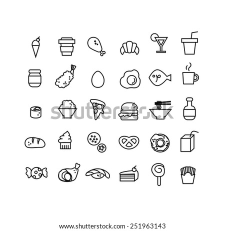 Vector set of hand draw 30 item of food icon - stock vector