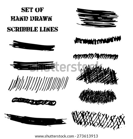 Vector set of hand draw scribble lines and brushes design element. Illustration with doodle curves - stock vector