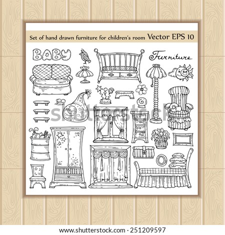 Vector set of hand drawn and isolated sketches of furniture for children's room. Doodles for use in design - stock vector