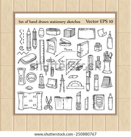 Vector set of hand drawn and isolated stationery sketches. Doodles for use in design - stock vector