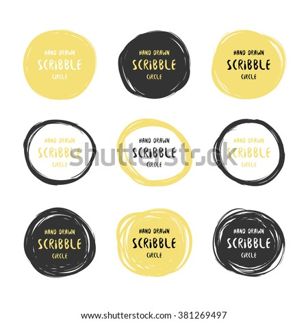 Vector set of 9 hand drawn black and gold scribble circles. Logo design elements - stock vector
