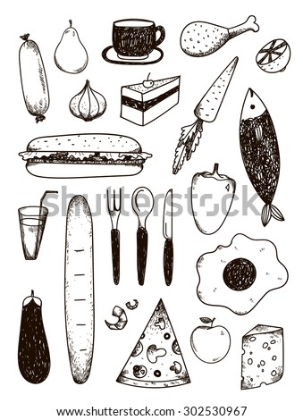 Vector set of hand drawn black and white food. Pizza, fish, sandwich, carrot, meet, etc. - stock vector