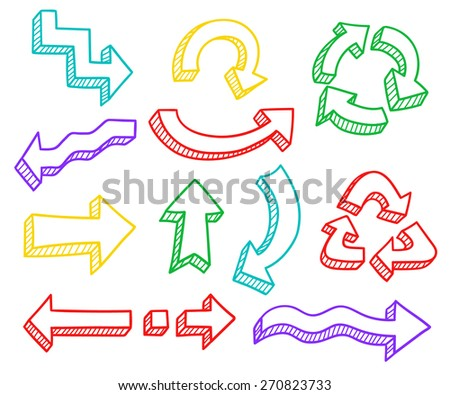Vector set of hand drawn 3d colorful arrows for business presentations - stock vector