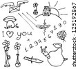 Vector set of hand drawn different doodles - stock vector