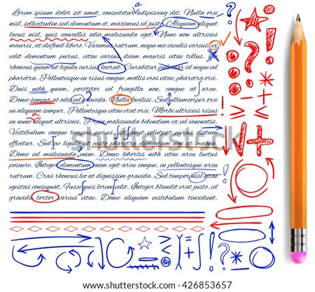 VECTOR set of hand drawn doodle icons. Elements for text correction. Blue, red and orange marks and realistic pencil. - stock vector