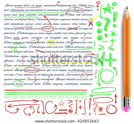 VECTOR set of hand drawn doodle icons. Elements for text correction. Green, yellow and red marks and realistic pencil. - stock vector
