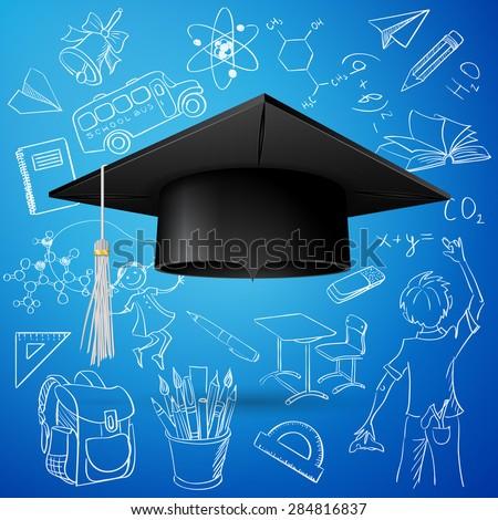 Vector Set of Hand Drawn Doodle School Vectors and Graduation Cap - stock vector