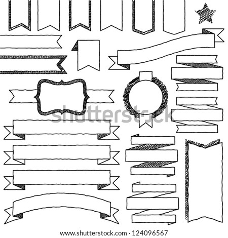 Vector Set of Hand Drawn Doodle Web Design Elements (filled with white) - stock vector