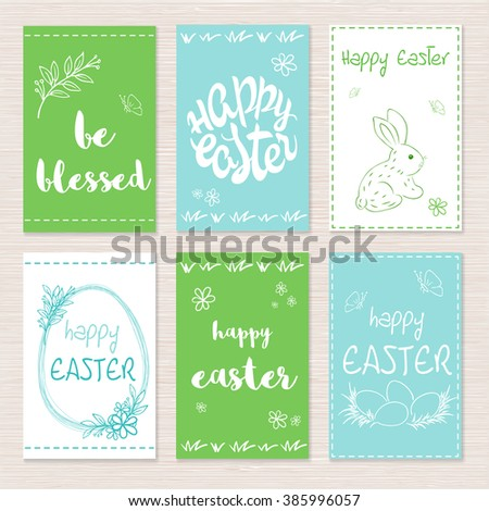vector set of hand drawn easter greeting cards with lettering, flower branches and rabbit. - stock vector